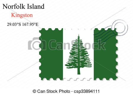 Vector Clip Art of norfolk island stamp design over stripy.