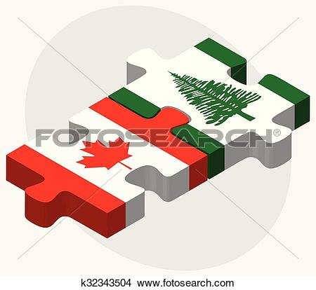 Clipart of Canada and Norfolk Island Flags k32343504.