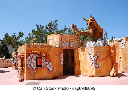 Stock Images of Knossos palace and Minotaur as tourist attraction.