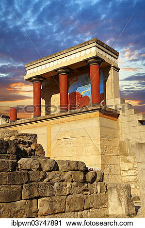 """Stock Photography of """"Palace of Minos, restored entrance, ancient."""