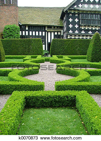 Stock Photo of an old English knot garden k0070873.