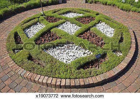 Stock Photo of Circular knot garden with brick border x19073772.