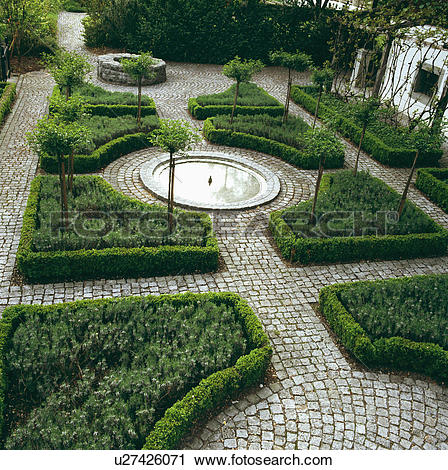 Stock Photography of Formal knot garden with low box hedging and.