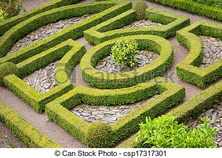 Stock Photography of Topiary knot garden.