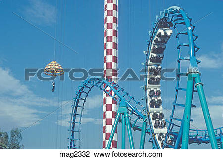 Stock Photo of thrill rides at Knott's Berry Farm Anaheim.