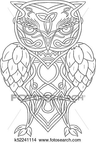 Hops and Barley Owl Celtic Knotwork Clipart.