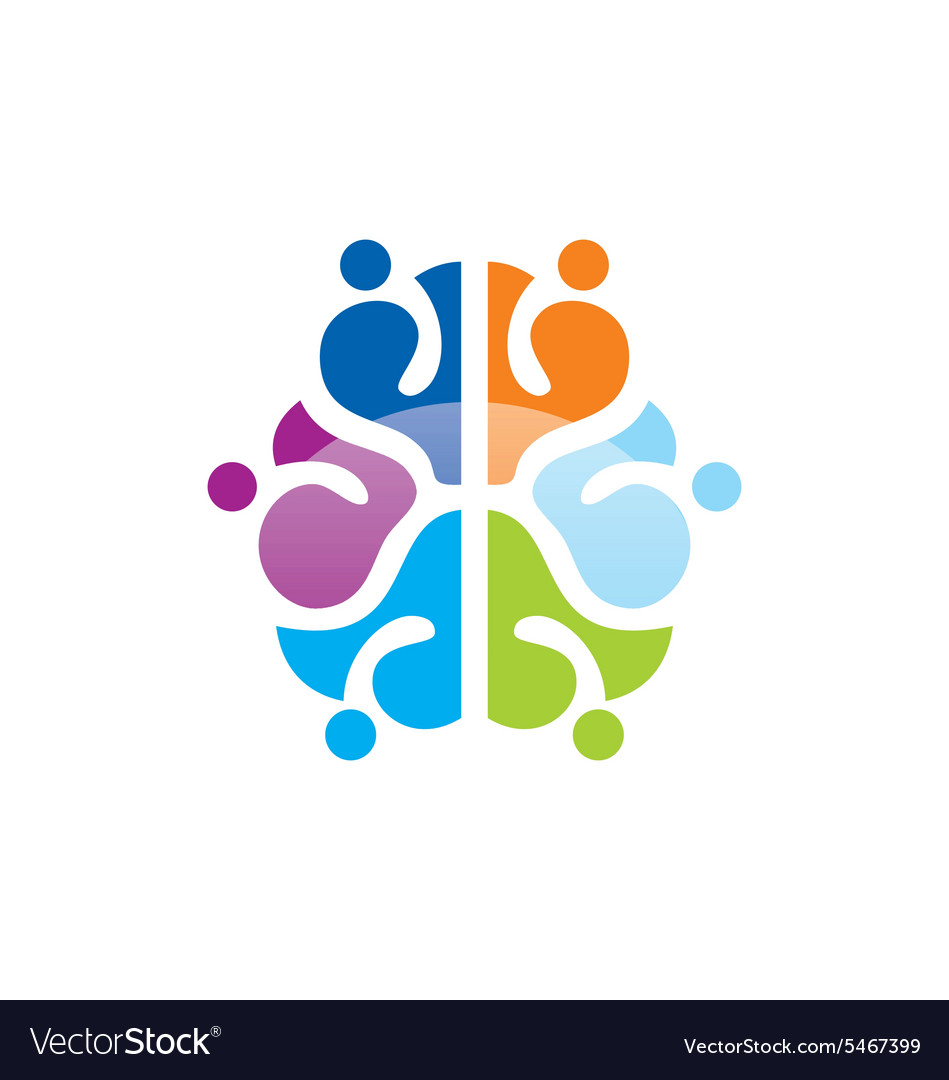 Colorful brain abstract knowledge logo.