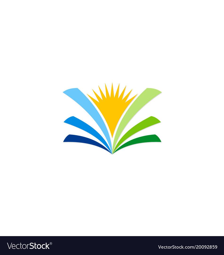 Open book sunshine knowledge logo.