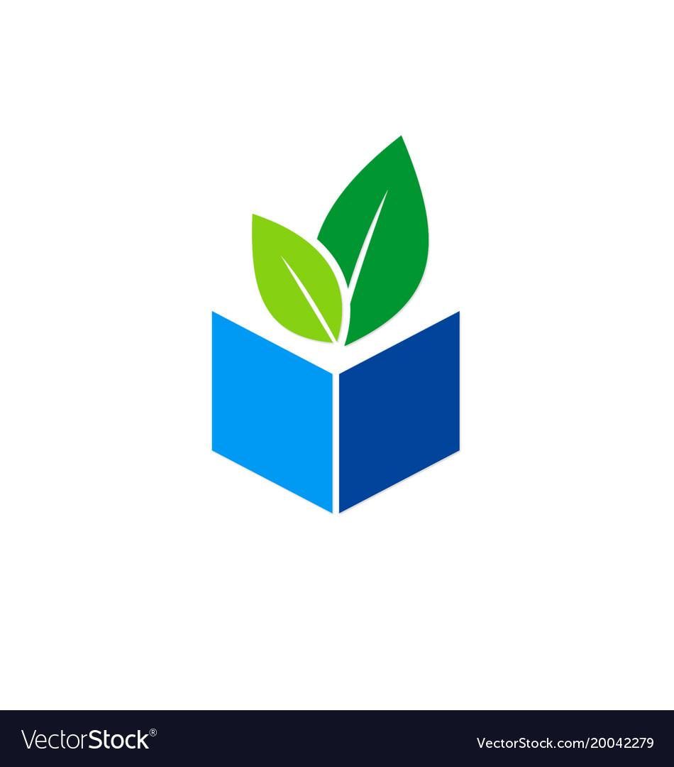 Green leaf book organic knowledge logo.