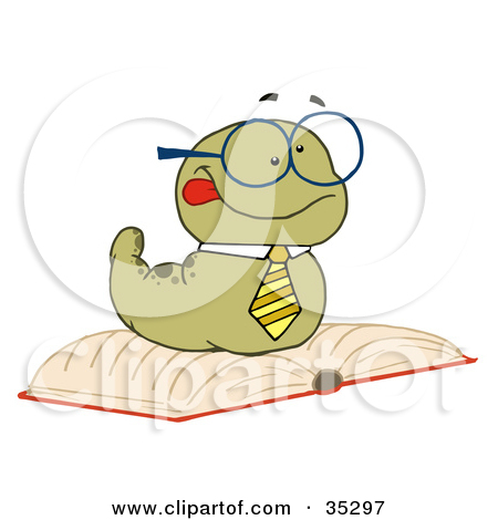 Clipart Illustration of a Knowledgeable Old Worm Wearing A Tie And.