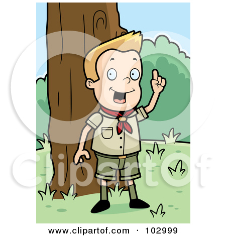 Cartoon Clipart Of A Black And White Knowledgeable Cub Scout Boy.