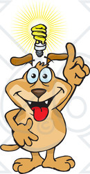 Clipart Illustration of a Knowledgeable Brown Dog Holding His.
