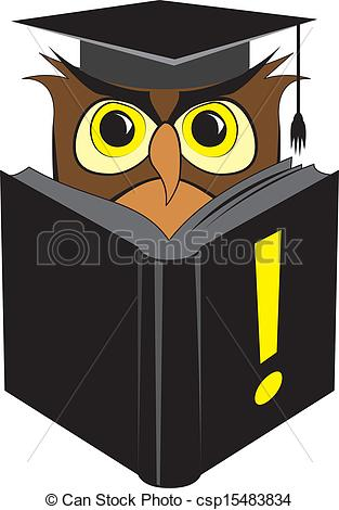 Vectors of Wise owl reading book.