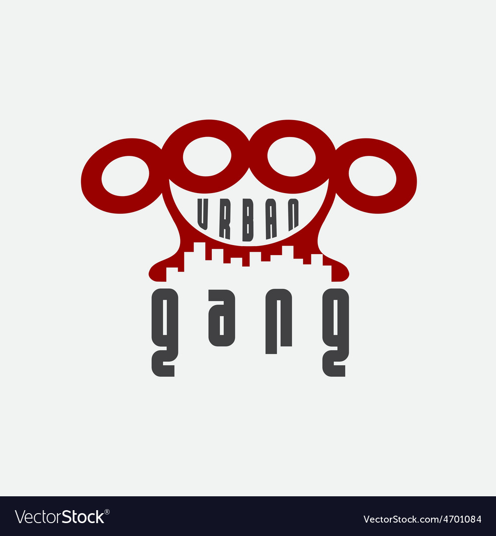 Urban gang emblem with brass knuckles.