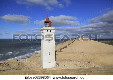 """Stock Photo of """"Wandering dune and the Rubjerg Knude lighthouse."""