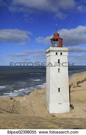 """Stock Image of """"Wandering dune and the Rubjerg Knude lighthouse."""