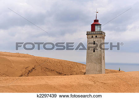 Stock Photograph of Lighthouse in the sand dunes of Rubjerg Knud.