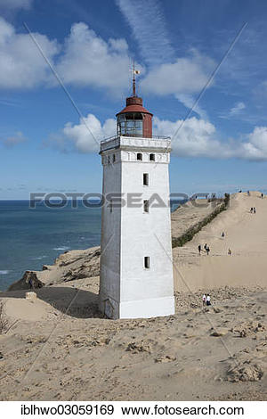 """Stock Photograph of """"Lighthouse with the Rubjerg Knude migrating."""