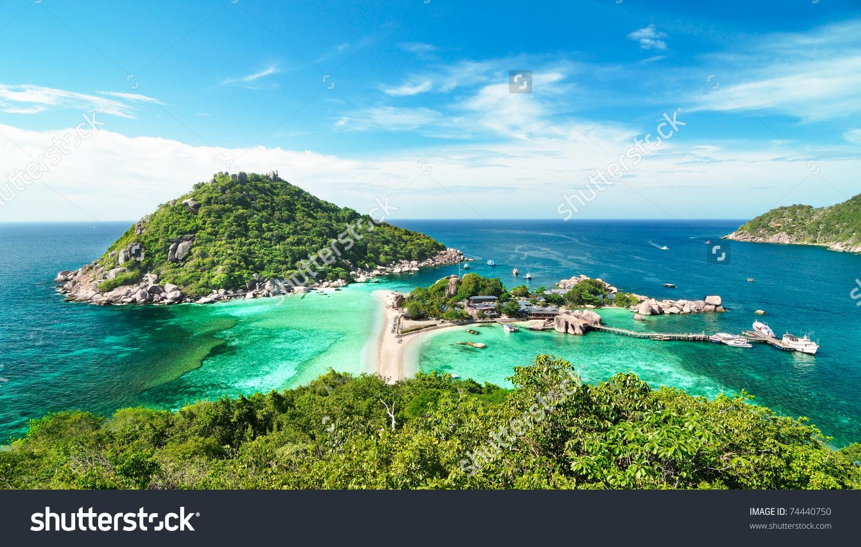 Koh Nang Yuan Islands Top View Stock Photo 74440750.