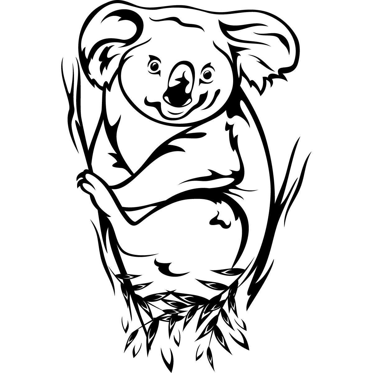 Koala black and white clipart kid.