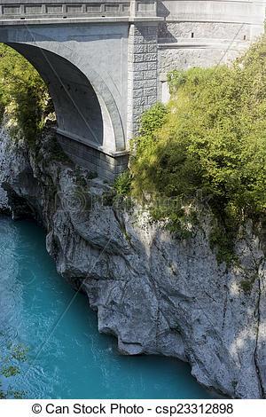 Stock Photographs of Stony arch bridge, Kobarid, Slovenia.