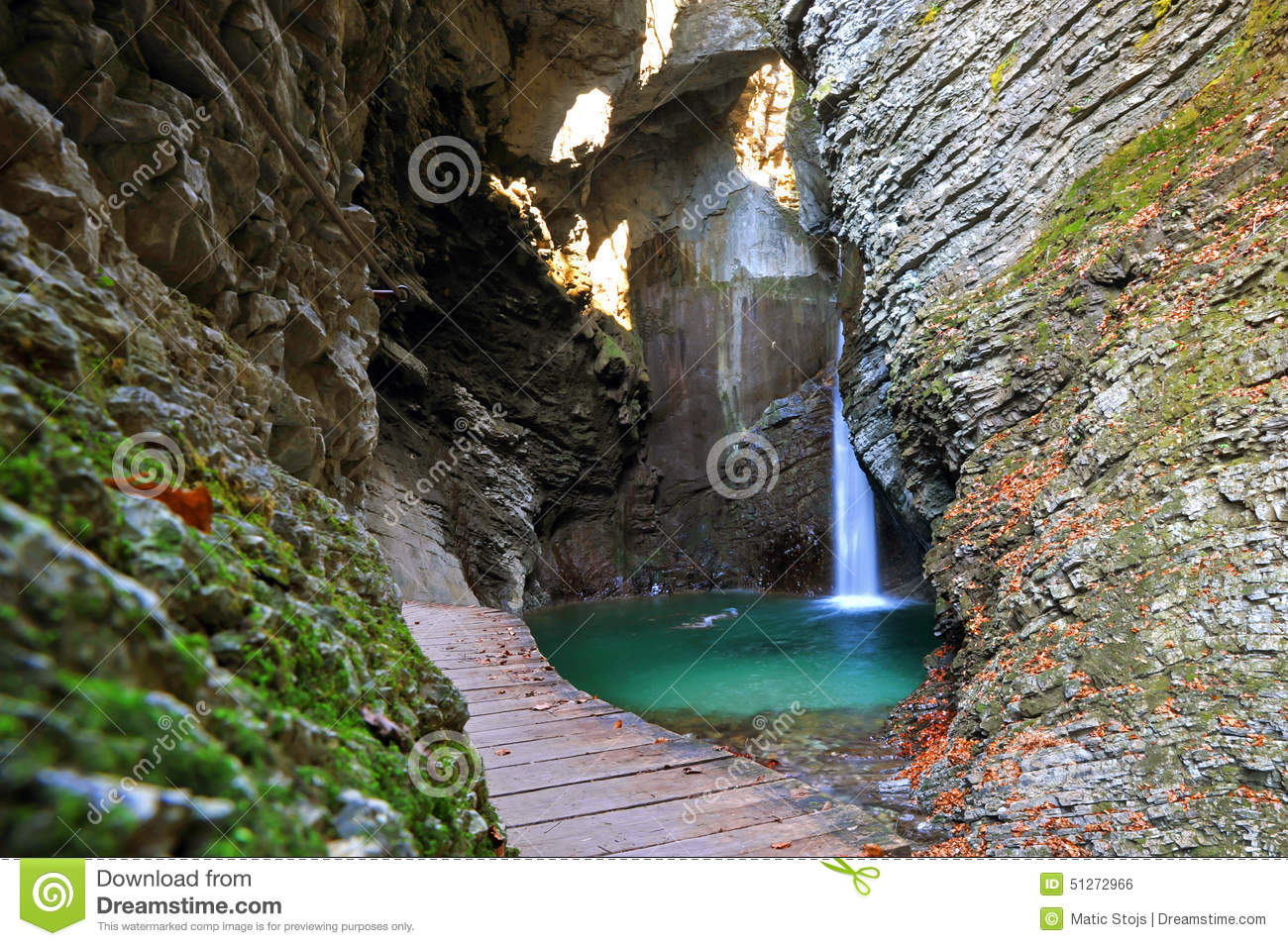 Kozjak Waterfall, Kobarid, Slovenia Stock Photo.