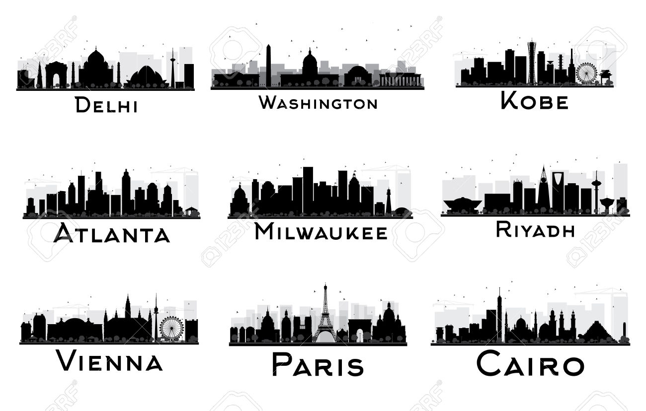 Set Of City Skyline Black And White Silhouette. Vector.