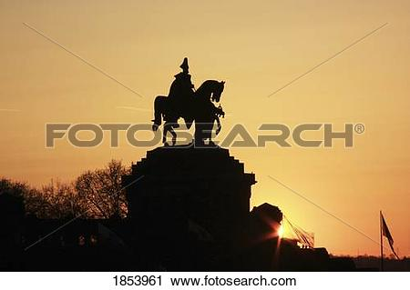 Stock Photography of Silhouette of statue of Kaiser Wilhelm I.
