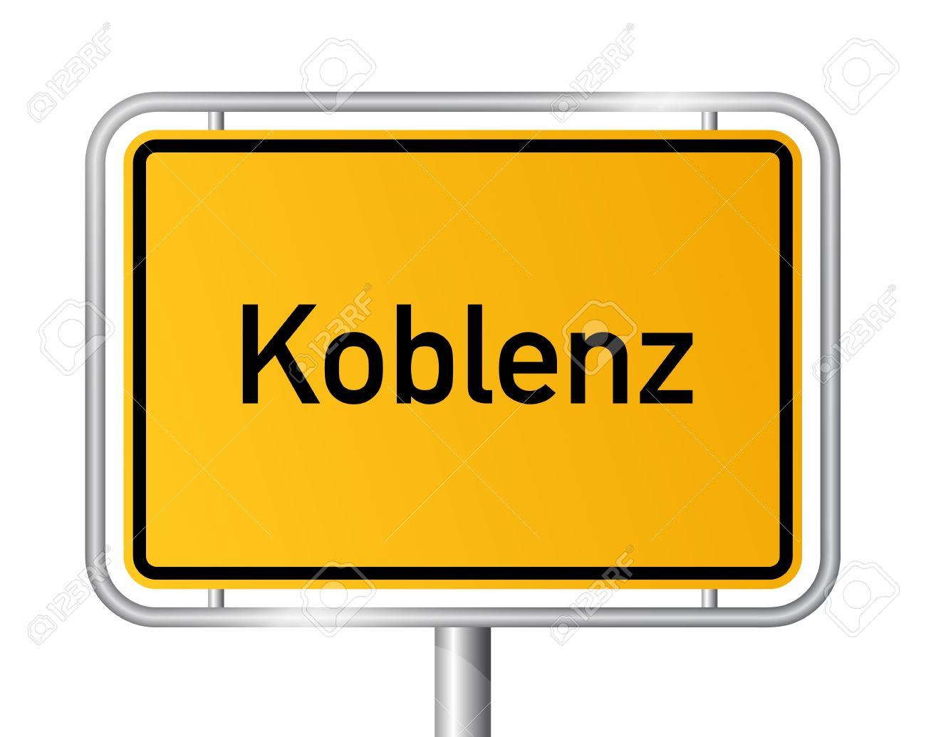 City Limit Sign Koblenz Against White Background.