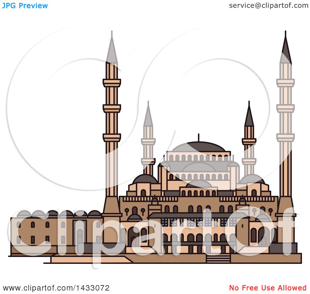 Clipart of a Line Drawing Styled Turkey Landmark, Kocatepe Mosque.