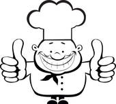 Clipart of black and white clipart pizza chef k13852091.
