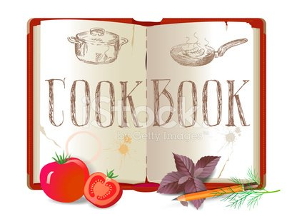 Cookbook and vegetables Clipart Image.