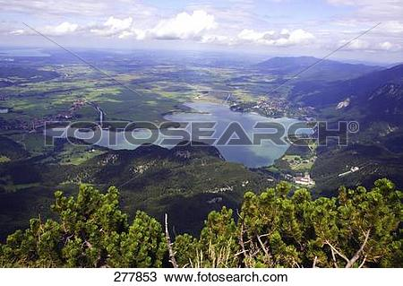 Stock Photo of Aerial view of lake, Mt Herzogstand, Kochelsee.