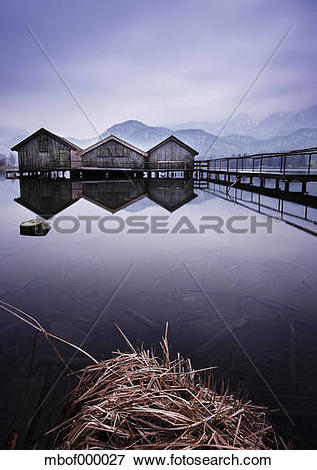 Picture of Germany, Bavaria, Bathhouses on Lake Kochelsee.