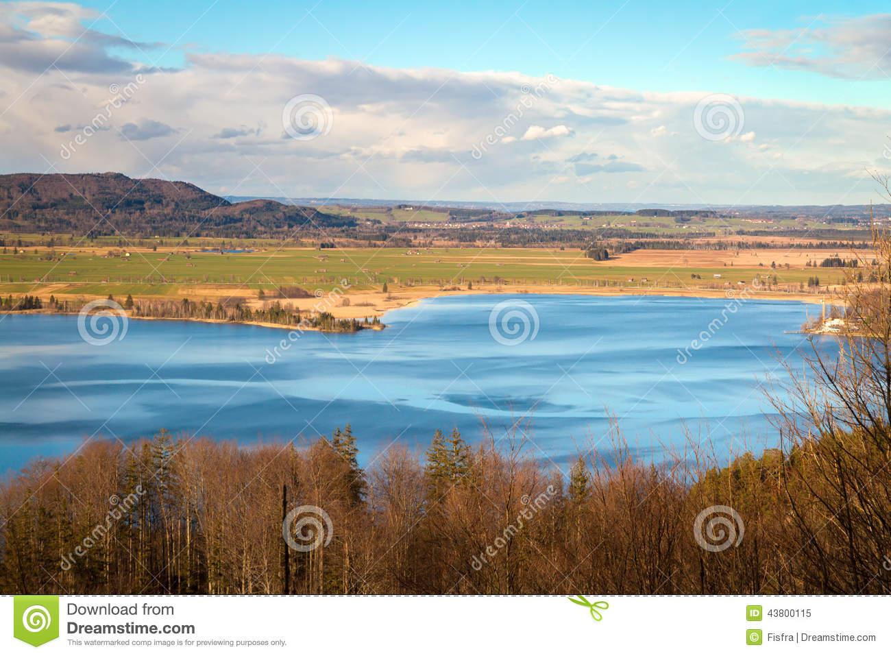 Lake Kochel (Kochelsee) In Bavaria On A Sunny Winter Day, German.