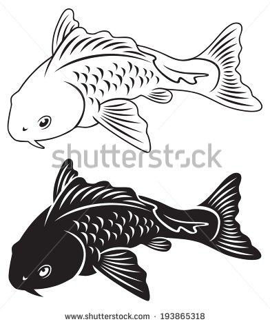 Carp Fish Silhouette Clipart.