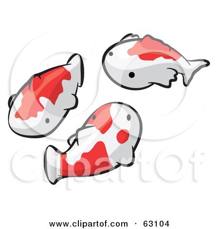 Cartoon of Orange Koi Fish and Waves.