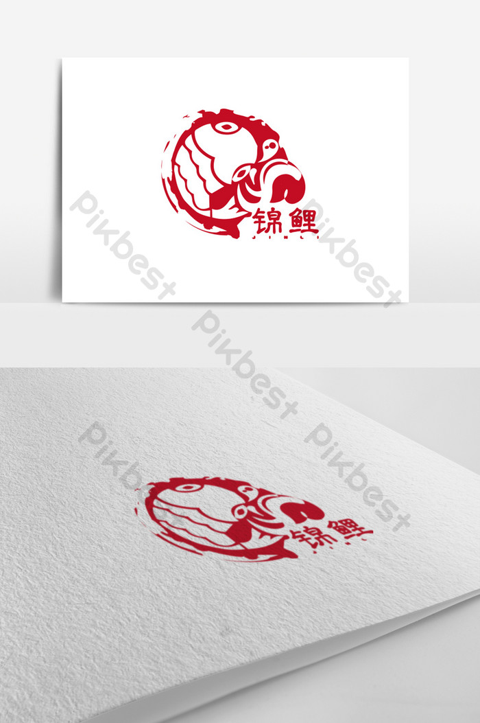Freehand koi fishing park logo design.