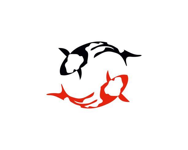 Fish KOI logo and symbol animal vector.