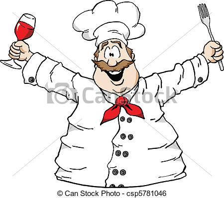 Clip Art Vector of Chef with wine and fork.