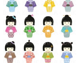 kokeshi doll clipart.
