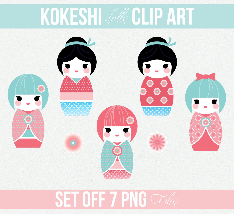 Kokeshi Doll Japanese Kokeshi Kokeshi Clipart by MyGirlyPrints.