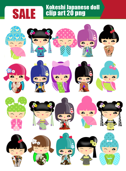 Japanese Doll Clipart.