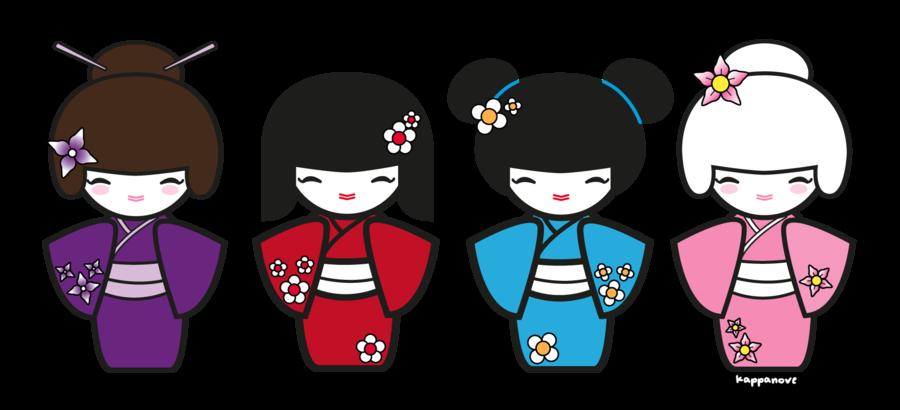 Kokeshi dolls clip art.