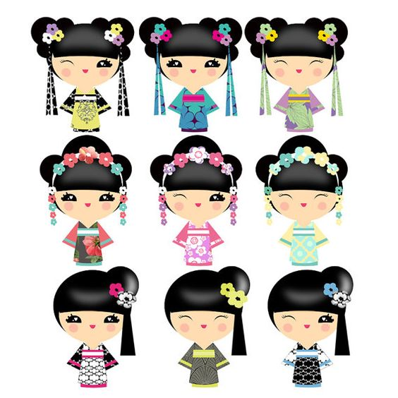Kokeshi Doll Art for 1500 free paper dolls, go to my website.