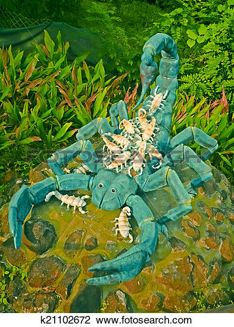 Stock Photo of Sculpture of Scorpion in a Garden, Kolhapur.