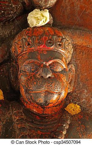 Stock Photographs of Hanuman at Ramtirth Temple, Ajara, Kolhapur.