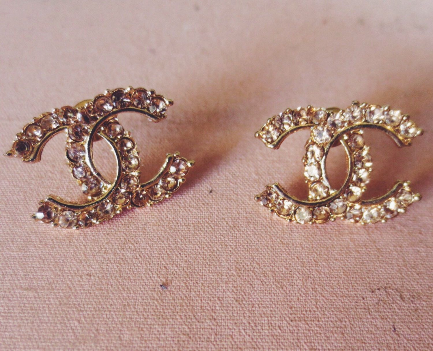Chanel inspired earrings. These gorgeous rhinestone monogram.