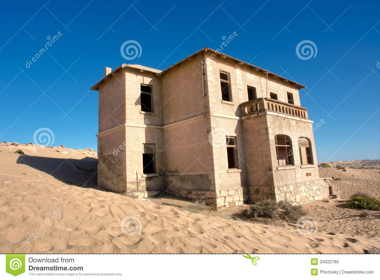 Abandoned House In Sand Stock Photo.