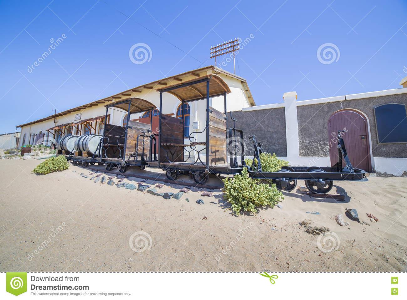 Abandoned Train In Kolmanskop, Namibia Stock Photo.